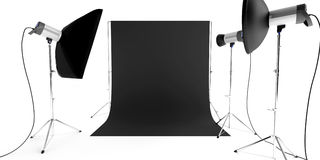 Photo studio equipment. With flashes and background stock photos