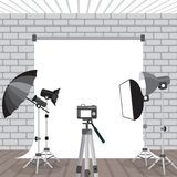 Photo studio equipment. Flashlights, photo umbrellas, photo rack Royalty Free Stock Photo