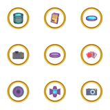Photo studio equipment icons set, cartoon style. Photo studio equipment icons set. Cartoon style set of 9 photo studio equipment vector icons for web design Stock Image