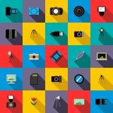 Photo studio equipment icons set, flat style. Photo studio equipment icons set in flat style for any design Royalty Free Stock Photography
