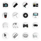 Photo studio equipment icons set, flat style. Photo studio equipment icons set. Flat illustration of 16 photo studio equipment vector icons set illustration Stock Photography