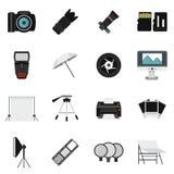 Photo studio equipment icons set, flat style. Photo studio equipment icons set. Flat illustration of 16 photo studio equipment vector icons for web Royalty Free Stock Photos