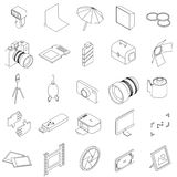 Photo studio equipment icons set. In isometric 3d style on a white background Stock Photography