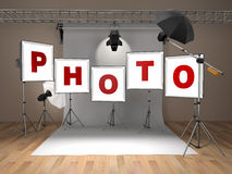 Photo studio equipment. Space for text. Royalty Free Stock Photos