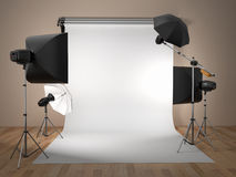 Photo studio equipment. Space for text. 3d Stock Photo
