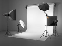 Photo studio equipment. Space for text. Royalty Free Stock Photography