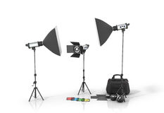 Photo studio equipment on a white bacground. 3D illustration Royalty Free Stock Photo