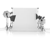 Photo studio equipment on a white bacground. 3D illustration Stock Images