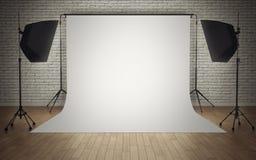 Photo studio equipment. With white background Stock Photography