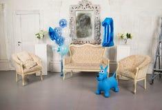 Photo Studio for the first birthday stock photos