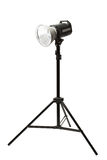 Photo studio flash light on the tripod on white Royalty Free Stock Photos