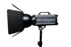 Photo studio flash lighting equipment. Isolated on white background Stock Photography