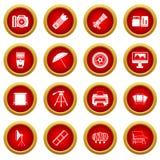 Photo studio icon red circle set Royalty Free Stock Images