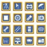 Photo studio icons set blue Royalty Free Stock Photography