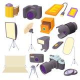 Photo studio icons set, cartoon style. Photo studio icons set in cartoon style. Photography equipment set collection vector illustration Royalty Free Stock Photography