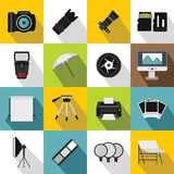 Photo studio icons set, flat style. Photo studio icons set. Flat illustration of 16 photo studio vector icons for web Royalty Free Stock Photography