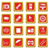 Photo studio icons set red. Photo studio icons set in red color isolated vector illustration for web and any design Stock Photo