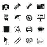 Photo studio icons set, simple style Stock Image