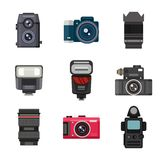 Photo studio icons vector set. Photography icons vector set creative design pictures in flat style. Photo studio icons digital, equipment, set. Vector lens Royalty Free Stock Photos