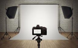 Photo studio light setup. With digital camera vector illustration