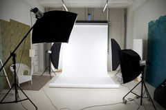 Photo studio with lighting equipment. Empty photo studio with lighting equipment stock photos