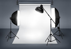 Photo studio with lighting equipment Royalty Free Stock Photos
