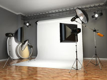 Photo studio with lighting equipment. Flashes, softboxes and ref Royalty Free Stock Photo