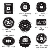 Photo studio logo badges vintage vector set. Hipster and retro style. Royalty Free Stock Photography