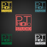 Photo studio logo mock up dark sample text.  Royalty Free Stock Photo