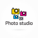 Photo studio logo template, colorful camera flat icon Stock Images