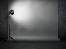 Photo studio in old grunge room Royalty Free Stock Photo