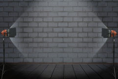 Photo studio in old room with brick wall Stock Photography