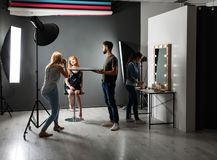 Photo studio with professional equipment and t workers. Photo studio with professional equipment and team of workers royalty free stock images