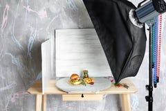 Photo studio with professional lighting equipment. During shooting food stock photos
