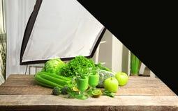 Photo studio with professional lighting equipment. While shooting food stock image