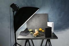 Photo studio with professional lighting. Equipment during shooting food stock photo