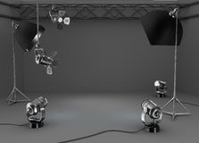 Photo studio room, light equipment Royalty Free Stock Photography