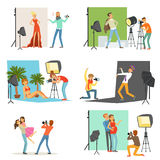 Photo studio set, photographers taking pictures of different people with professional photographic equipment vector Stock Photography