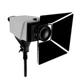 Photo studio spotlight. Illustration of a photographic studio spotlight with barn doors. Isolated on white background Royalty Free Stock Image