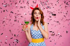Photo of stunning lady hold green cocktail theme retro party got best costume nomination confetti falling wear red