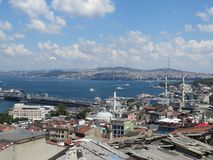 Stunning view to Bosporus from the height. Photo of stunning view to Bosporus from the height, bright blue sky with white clouds and sea in background, Istanbul stock images