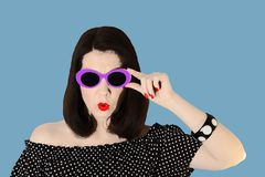 Photo in the style of pop art. Woman in a black and white dress stock photos