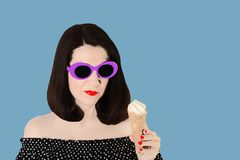 Photo in the style of pop art. Woman in a black and white dress stock image
