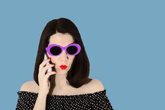 Photo in the style of pop art. Woman in a black and white dress royalty free stock images