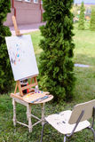 Photo subjects of artist drawing located in park outdoors. Royalty Free Stock Photo