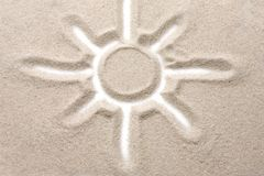 Photo of the sun painted on the sandy Royalty Free Stock Photos