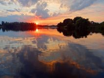 Photo of a Sunset on the River Royalty Free Stock Photos
