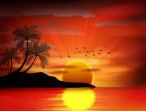 Photo of sunset on sea Stock Image