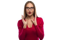 Photo surprised woman in glasses Royalty Free Stock Photo