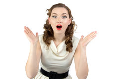 Photo of surprised woman with open mouth Royalty Free Stock Photos